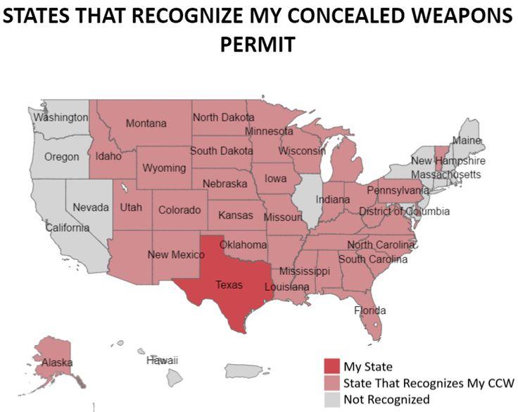 concealed carry arizona reciprocity map