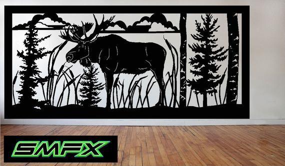 Large Moose Scene Metal Wall Art Rectangle Can Be A Railing Etsy Animal Stencil Art Wall Art Art