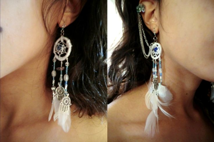 Dream catcher earring with hindi small pendants