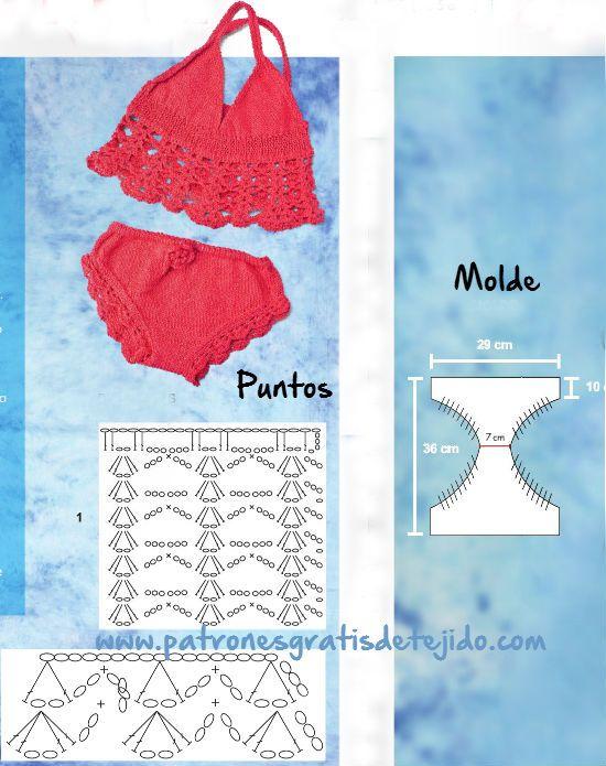 moldes y patrones de puntos de traje de baño de niña