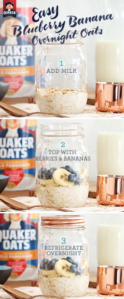 It only takes 3 steps to make Quaker® overnight oats! Try a quick, easy recipe that you can grab on your way out of the door  in the morning. Ingredients: ½ cup Quaker® Oats, ½ cup low-fat milk, 1 teaspoon vanilla (optional), ½ cup blueberries, ⅓ cup banana, sliced, 1 teaspoon chia seeds (optional)