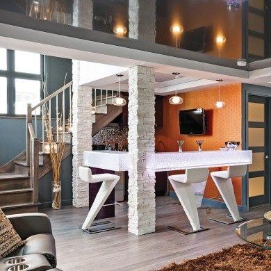 Convivialité urbaine avec l'espace bar au sous-sol - Salon - Inspirations - Décoration et rénovation - Pratico Pratiques - Plafond tendu