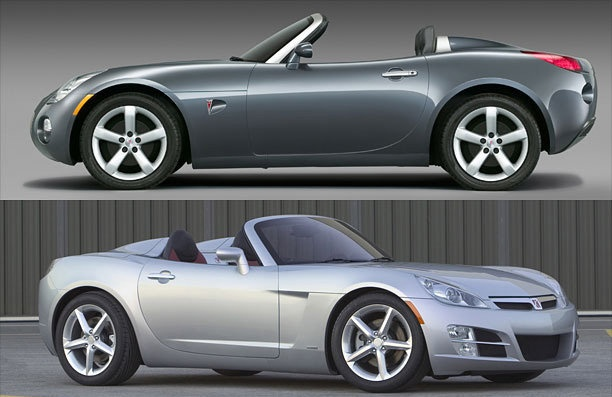 Pontiac Solstice/Saturn Sky 2005-2009 ... These two roadsters were supposed to inject a much-needed jolt into the flagging Pontiac and Saturn brands, and GM launched them with all the thunder that a failing automaker could muster. Yet even the imprimatur of design guru Bob Lutz couldn't fend off harsh comments from car reviewers who found them dynamically inferior to the long-established Mazda Miata and incapable of carrying any baggage than could fit in a number 10 envelope.