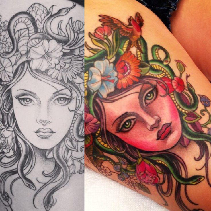Medusa tattoo and sketch by Kim Saigh                                                                                                                                                     More