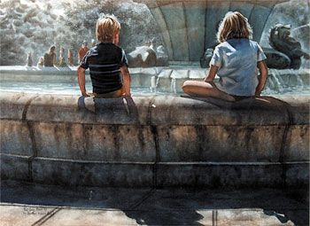 the fountain, mission bay, auckland - water colour - www.paulconey.co.nz