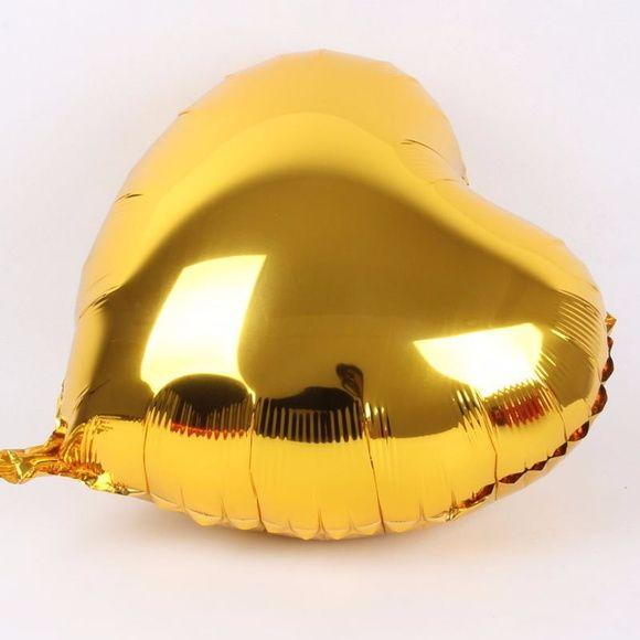 Balão Metalizado Coração Dourado