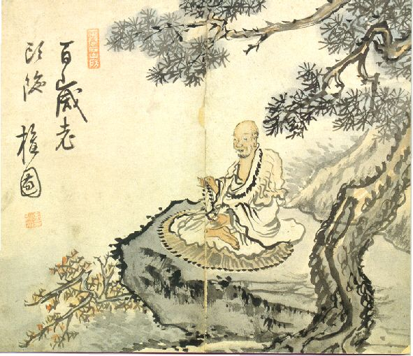 Old Monk under a Pine Tree Kim Hong-do(1745∼1806?), Choson dynasty, 18th century Ink and light colors on paper, 21.3×24.8