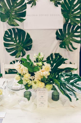 Wedding, Botanical style. Greenery. Wedding decor. Wedding decoration. Monstera. Green wedding.