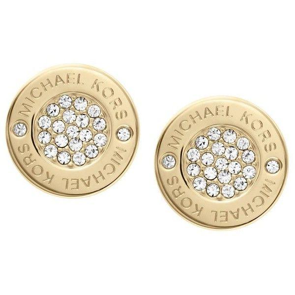 Michael Kors Pavé Logo Earrings found on Polyvore featuring jewelry, earrings, stud earrings, logo jewelry, pave jewelry, pave earrings and steel earrings