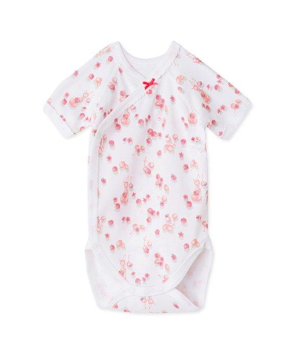 Body naissance bébé fille imprimé Petit Bateau blanc, rose