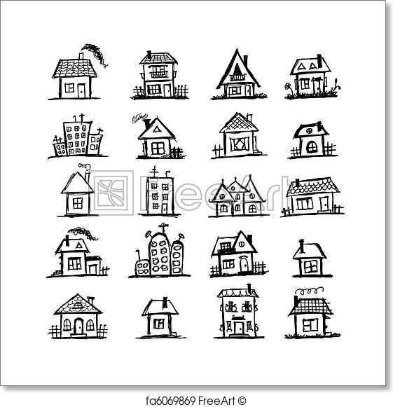 Free art print of Sketch of art houses for your design – Celeste