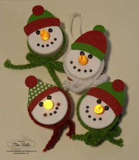 Think about a 'Cheshire Cat/White Rabbit' version for my 'Alice' tree:)  -The Serene Stamper: Snowman Tealight Ornaments