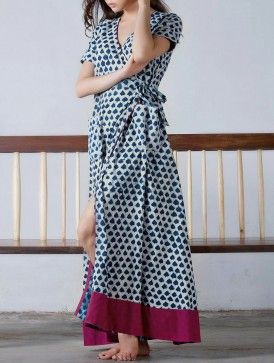 Indigo- Fuschia Tie-Up & Pocket Detailed Natural Dyed Block Printed Cotton Maxi Dress