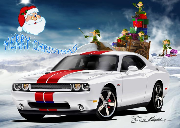 Dodge Challenger say's Merry Christmas from the Automotive Art of Danny Whitfield!