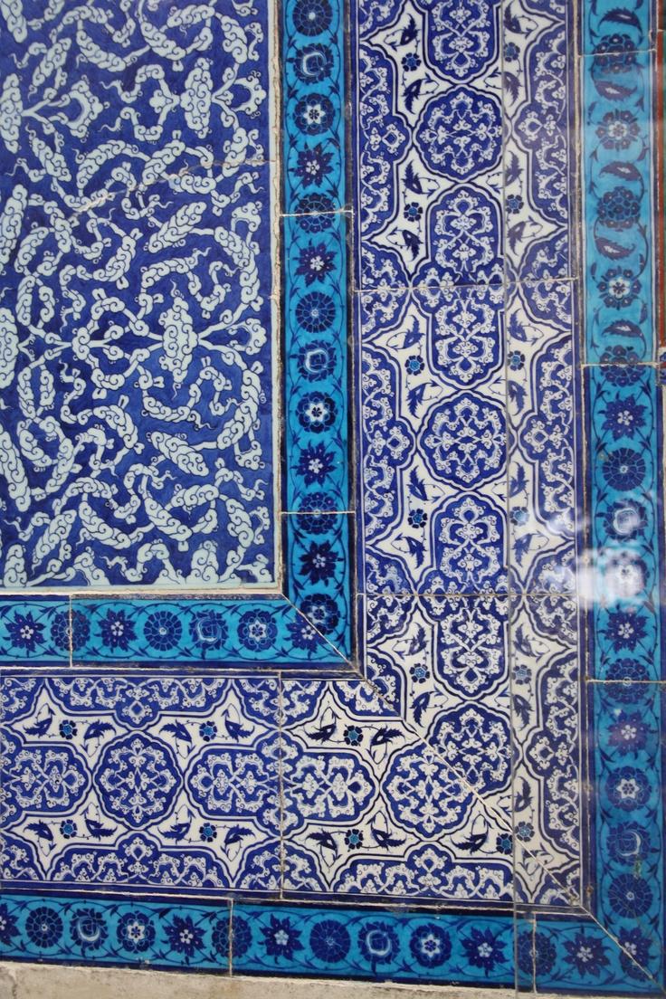 Istanbul, mosaïques, bleu, faïences bleues