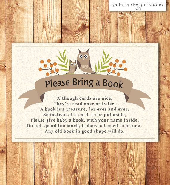 Woodland Owl Baby Shower Invitation Insert - Please Bring a Book Instead of a Card by Galleria Design Studio