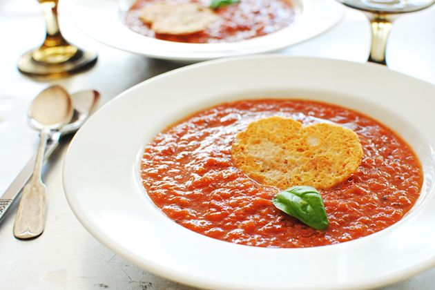 Roasted Tomato Soup with Parmesan Crisps