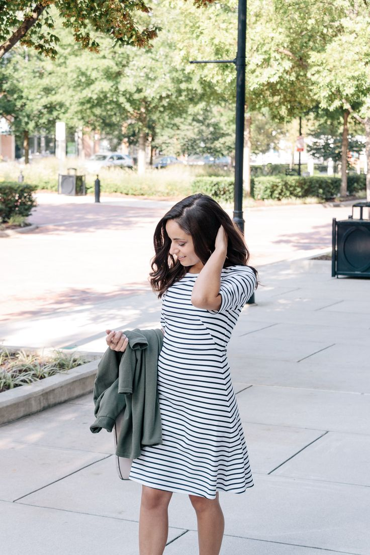 Perfect work dress! Create a tailored look with our flattering fit and flare dress. Features a chic half sleeve, crew neckline and a hidden back zipper. #stripes #fallfashion #workwear | All For Color | @pumpsandpushups