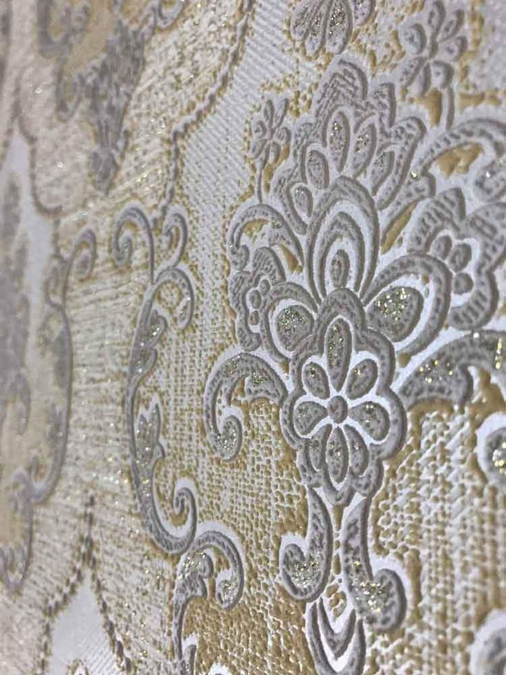 350902 yellow gray Damask Expanded Vinyl Wallpaper in