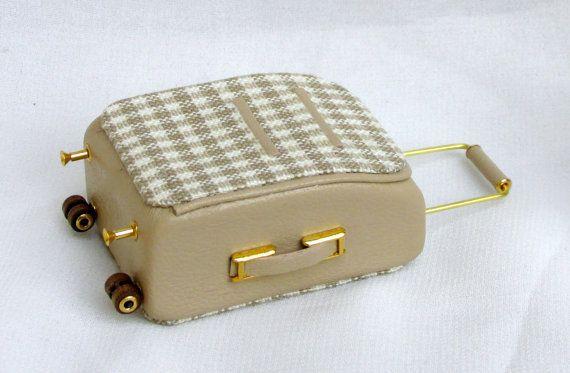 ♡ ♡   set di valigie scala 1/12 in pelle e tessuto por minifromItaly