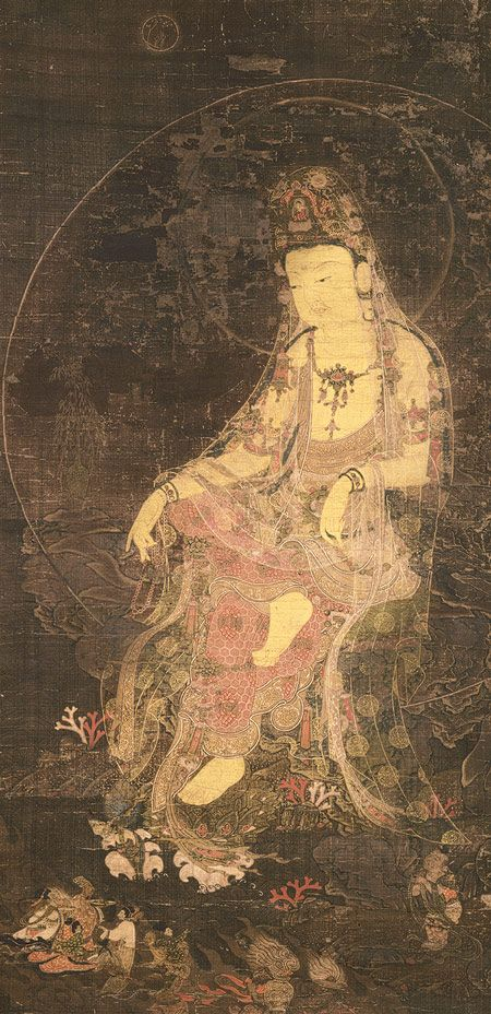The Water-Moon Avalokiteshvara, a form of the bodhisattva of infinite compassion and wisdom. 14th c, Korea, painted silk.