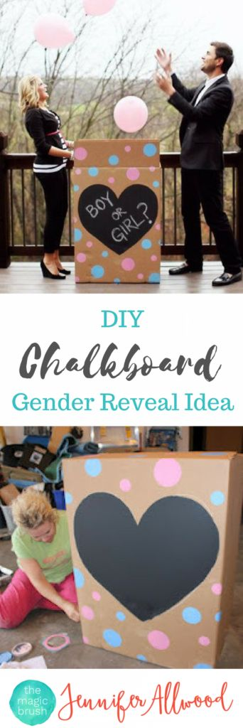 Boy or Girl Gender Reveal Idea - Chalkboard Paint Gender Reveal Box by Jennifer Allwood of TheMagicBrushinc.com - Gender Reveal Party Ideas