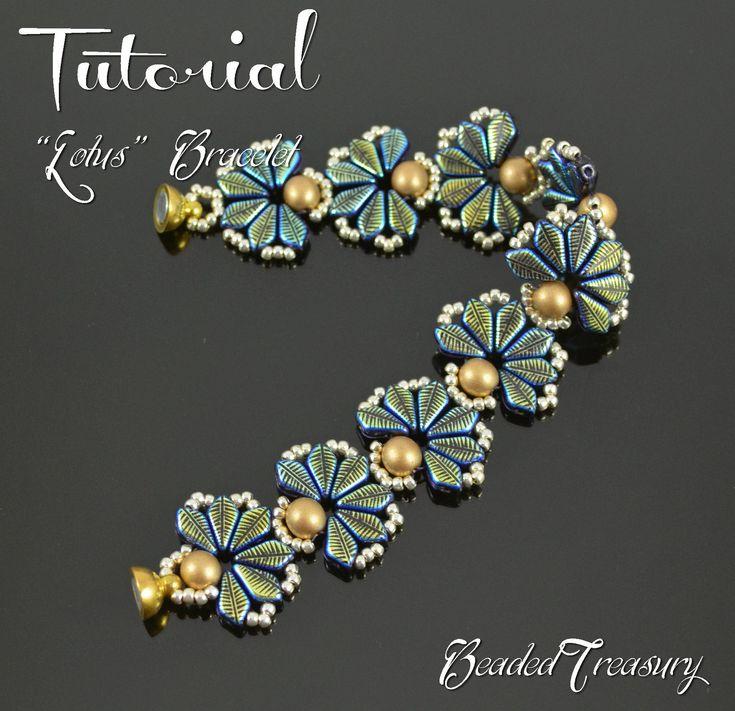 LOTUS Beaded bracelet pattern Beading tutorial with 2-hole