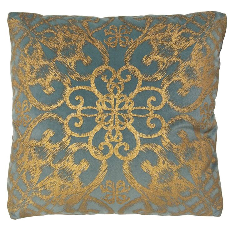 alicante by artistic linen goldtone velvet 18inch metallic decorative throw pillow