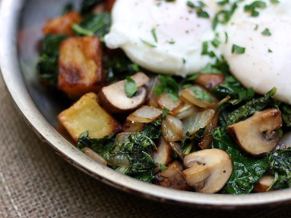 Mushroom and Kale Hash with Poached Eggs