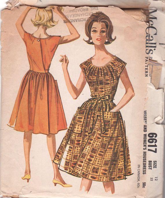 McCalls 6617 1960s  Misses  Housedress Pattern Back by mbchills