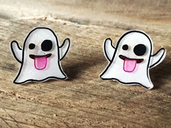 Ghost Emoji Earrings - stud earrings - halloween earrings - handmade jewelry - gifts for her - emoji jewelry - shrinky dink