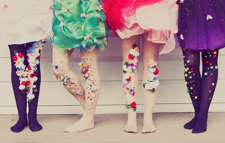 Pom pom tights for party dress up!