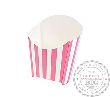 Pink striped fry containers | Favor Bags and Boxes | Party Collection | The Little Big Company Pty Ltdparty, glass bottles, swizzle sticks, beverage dispenser, birthday, gift, rock candy