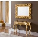 ESF Furniture - CK58 Gold Console with Mirror - CK58-CON+MR-GOLD