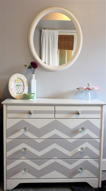 DIY chevron dresser - Not crazy about how it looks on this one, but the concept could be applied in different ways.