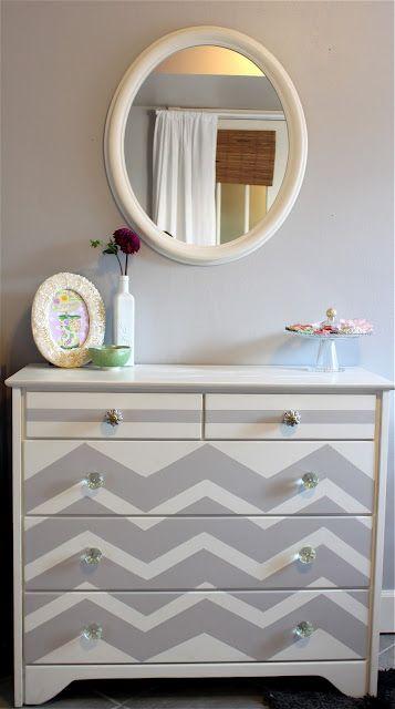 furniture makeoverDresser Makeovers, Furniture Makeovers, Old Dressers, Dressers Makeovers, Painted Dressers, Chevron Dressers, Diy, Painting Dressers, Chevron Stripes