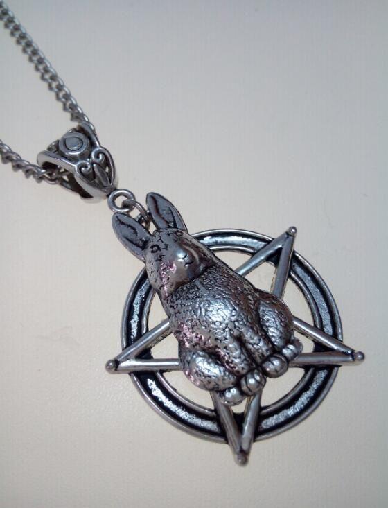 Заяц кролик дерево собака и пентаграмма пентакль звезда ожерелье - шаманство - языческих - дух животных - бесплатная органзы мешок подарок