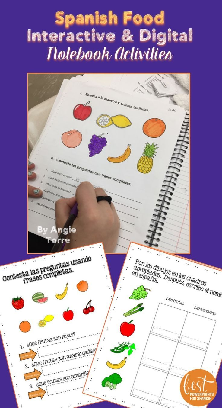 Need some hands-on activities for your Spanish Food Lesson? These Interactive Notebook and Google Drive activities kept all my Spanish One students engaged as they learned how to talk about food in Spanish because they were hands-on! The following resources are included: Student Handout, Listening/coloring activity, glue in the fruits and vegetables under the correct category and label in Spanish and much more! Click to see what else is included!