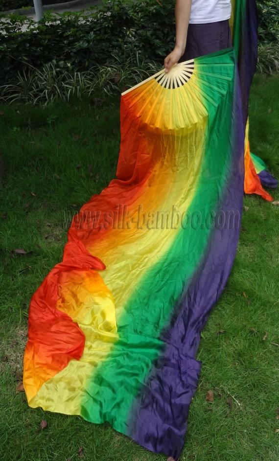1 pair 2pcs belly dance silk fan veil VERTICAL by silkbamboo, $49.00