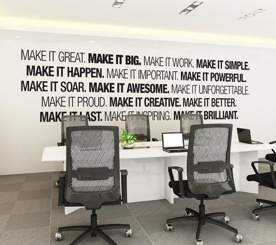 Elegant Office Wall Art   Corporate   Office Supplies   Office Decor   Office Art    Typography Decal   Office Sticker   Office Sign   SKU:MIB | Workspace  Design ...