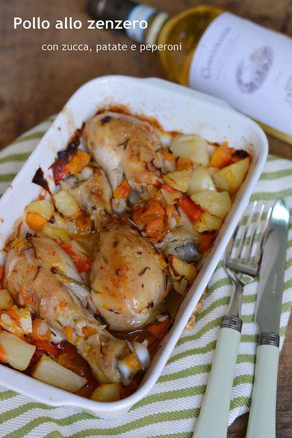 Pollo allo zenzero con zucca, patate e peperoni
