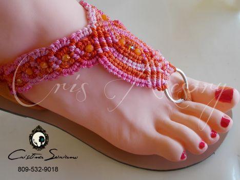 sandalia en macrame