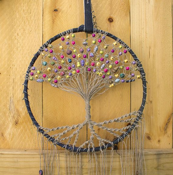 Materials are large 14 wooden hoop that has been wrapped with upcycled denim material. The Tree of Life design is created using hemp string that has been macramed with expert care and then decorated with various vintage beads including vintage Peruvian clay and wooden beads.  This one of a kind dream catcher is approximately 44 in length plus an 11 loop for hanging. Please note that I try my hardest to suggest true colors using natural lighting within my photos. That being said, every phone…