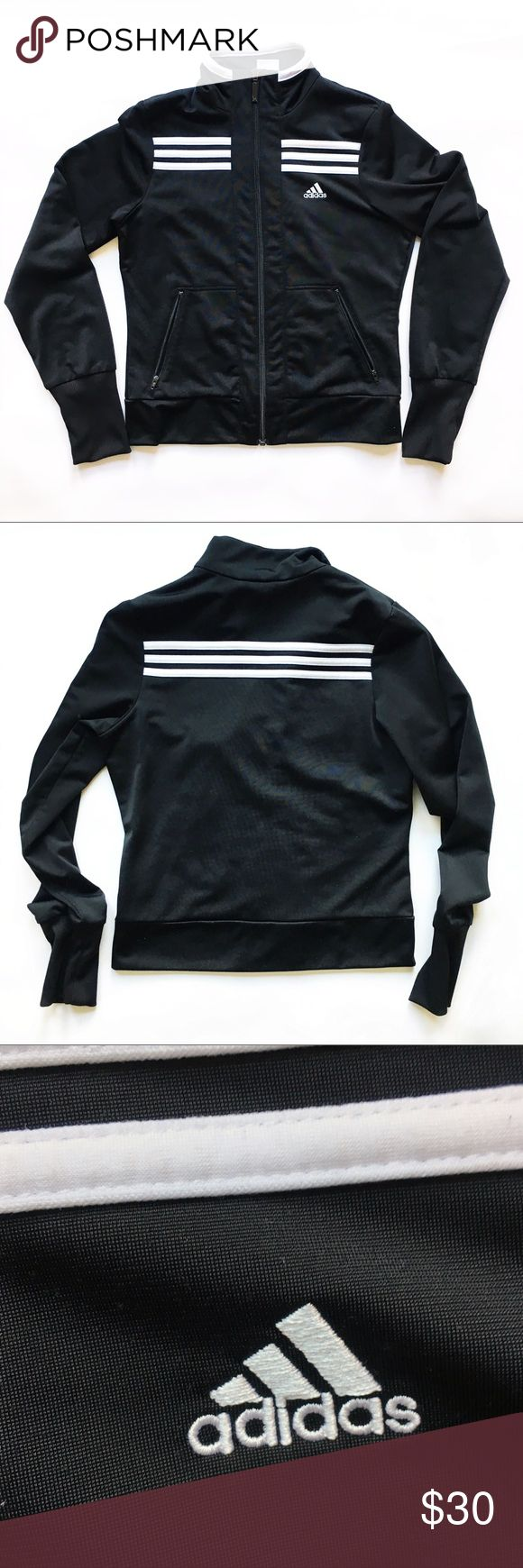 "Adidas Black and White Zip-Up Hoodie Adidas black and white classic stripes zip up hoodie Front zip closure  Slim fit  Zip up front pockets Classic stripes detail  Logo in the front Excellent Used Condition  • Approximate measurements unstretched • Length (shoulder to hem): 21"" • Bust (pit to pit): 17"" • Waist (laying flat across): 15"" Sleeves (pit to cuff): 21"" adidas Jackets & Coats"
