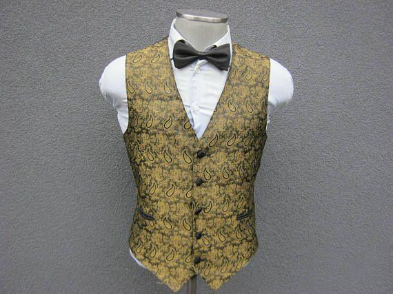 Unique Olive Gold Vest / Mens Waistcoat 44 Large Lrg L /