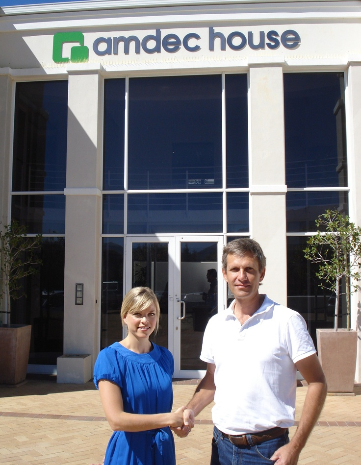 Pictured here is Kerry Simpson from Galetti with Gavin Doyle. Kerry has secured a new office suite at Amdec House in Steenberg Office Park, Cape Town for Xpotential Geosciences.
