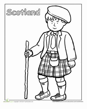 Second Grade People Community & Cultures Worksheets: Scottish Traditional Clothing Coloring Page