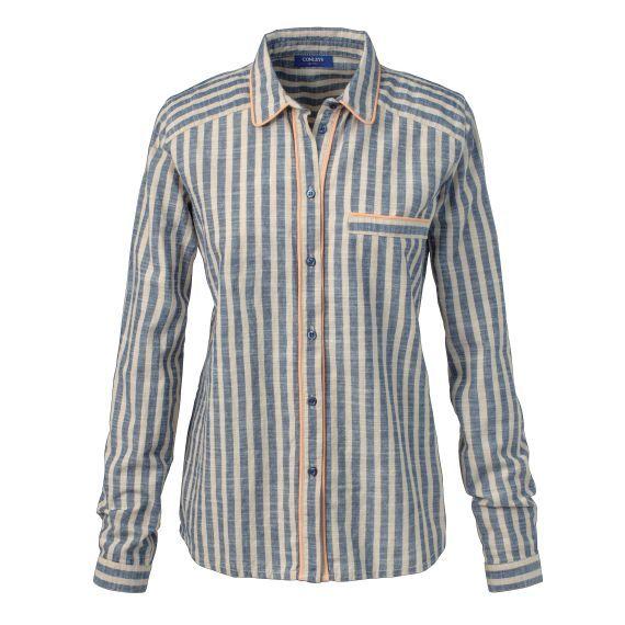 Gestreifte Chambray-Bluse im Dandy-Stil