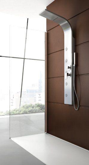 Colonna doccia idromassaggio in acciaio spazzolato 4 funzioni con cascata cervicale