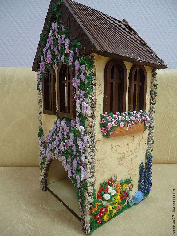 """Купить чайный домик """"Виноградник"""" - бежевый, объемный декупаж, чайный домик, для кухни, оригинальный подарок"""